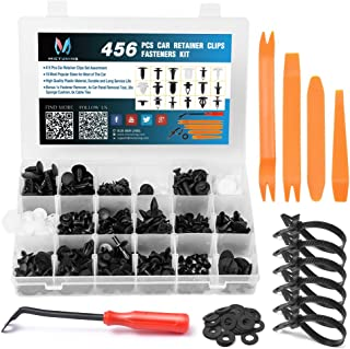 MICTUNING 18 Most Popular Sizes 456 Pcs Car Retainer Clips and Plastic Fasteners Kit with Fastener Remover Push Pin Rivets Auto Trim Door Panel Clips Assortment Set