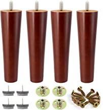 8 Inch Wood Furniture Legs, Set of 4. Great Round Tapered Sofa Legs with Mid-Century Modern Style Replacement Legs for ArmchairRecliner Coffee Table Dresser Sideboard
