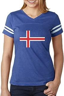 Iceland Flag Vintage Style Retro Icelandic Women Football Jersey T-Shirt