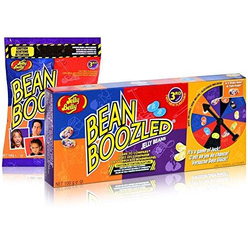 Jelly Belly Bean Boozled Set Glücksrad plus eine Tüte Beans, 1er Pack (1 x 100 g + 1 x 54g )