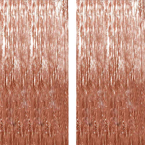 Twinkle Star 2 Pack Photo Booth Backdrop Metallic Tinsel Foil Fringe Curtains Environmental Background for Birthday Wedding Party Christmas Decorations (Rose Gold)