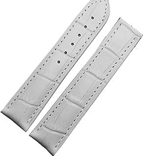 Nuevos 18 mm Correa de piel color blanco de banda Despliegue Hebilla Cierre plateado para