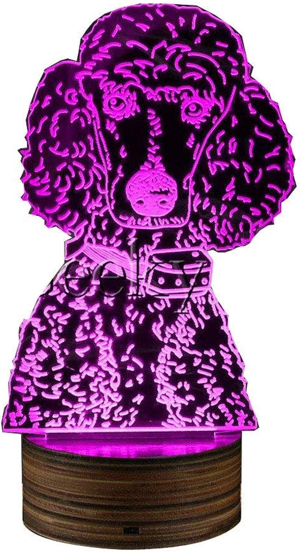 NANIH Home Pudel-Hundeabendlampe, Hundehalter-Inhaber-dekorative Raum-Beleuchtung Pudel-Liebhaber 3D USB-Nachtlicht-Hund LED-Beleuchtung