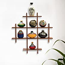 ExclusiveLane 8 Small Terracotta Warli Handpainted Pots with Home Decorative Wooden Frame Wall Hanging (33 cm x 5.1 cm x 33 cm, Set of 9)