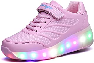 BY0NE Child Sneakers Shoe Roller Skate Shoes LED Light Sneakers Shoes with Wheels for Kids