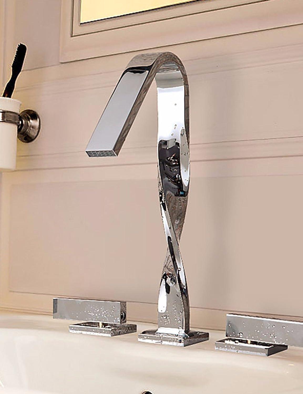 ETERNAL QUALITY Bad Waschbecken Wasserhahn Küche Waschbecken Wasserhahn Kupferne Heie Und Kalte Doppelte Handgriffdreilochbassinmischer Waschtischmischer BEG666