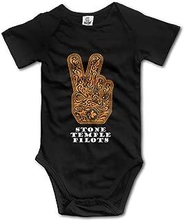 HYRONE Stone Temple Logo Pilots Baby Bodysuit Long Sleeve Romper Suits Black
