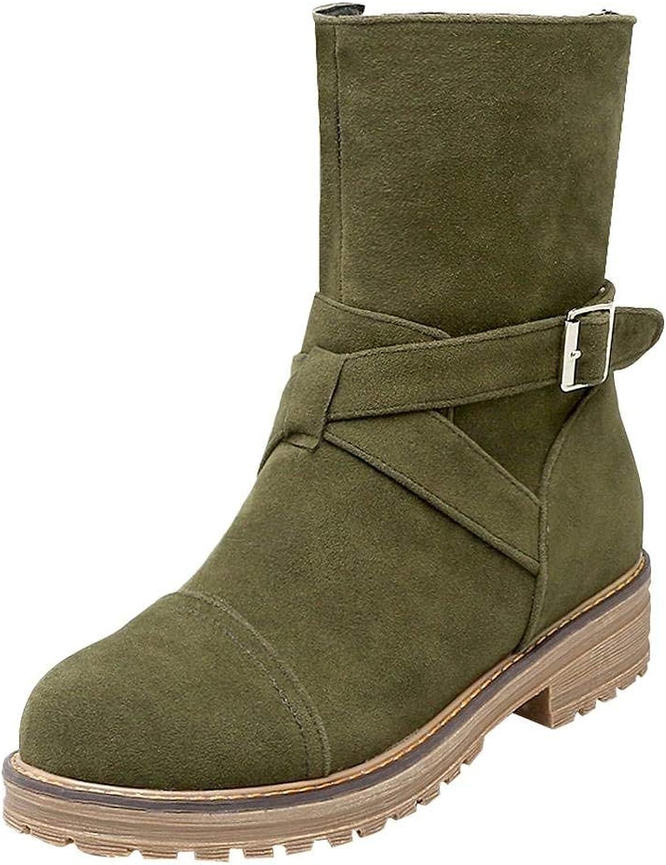 Gedigits Women's Comfort Low Heel Buckle Zipper Short Boots Yellow 4.5 M US