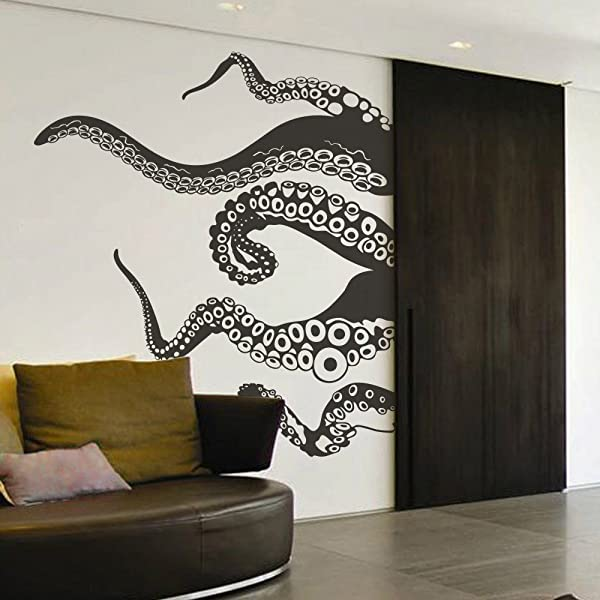 触角墙贴花北海巨妖章鱼触角墙贴纸海洋动物墙贴花壁画家居艺术装饰黑色