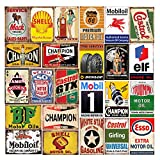 26 Pieces Gas and Oil Tin Signs, Retro...