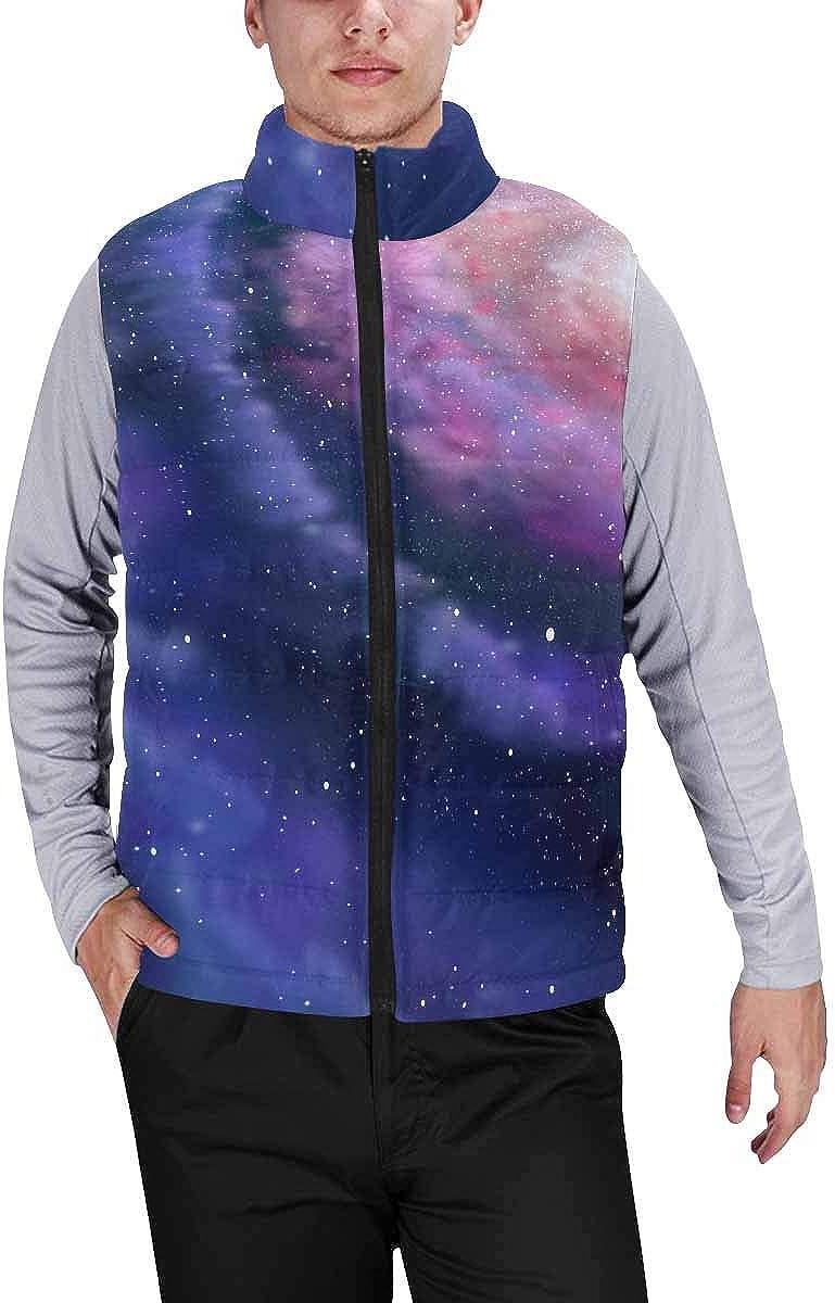 InterestPrint Men's Lightweight Sleeveless Jacket for Travel Hiking Running Solar System of Planets, Horizontal