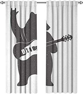 Bear, Curtains x Pattern, Funny Character Musician with Guitar and Hand Gesture Grunge Retro Rock n Roll, Curtains Kitchen, W72 x L96 Inch, Dark Taupe White