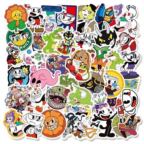OUJINKUAJING 50PCS/Pack Games Cuphead Mugman Stickers for Laptop Notebook Skateboard Computer Luggage Decal Cartoon Sticker