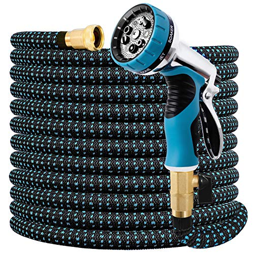 """Expandable Garden Hose 100FT Water Hose with 9 Function Nozzle and Durable 3-Layers Latex, Extra Strength 3750D Flexible Hose with 3/4"""" Solid Brass Fittings and High Pressure Water Spray Nozzle Hoses"""