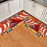 Juego de alfombrillas de cocina de 2 piezas,Domador de circo y león Actuación de circo di, Alfombra antideslizante con respaldo para alfombra de cocina, lavable y duradera, alfombra de corredor