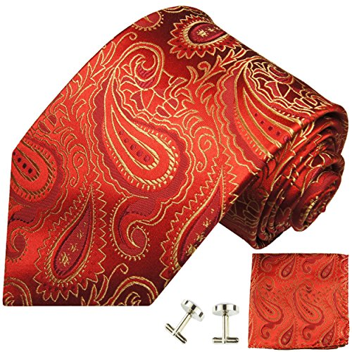 Cravate rouge or paisley ensemble de cravate 3 Pièces (100% Soie Cravate + Mouchoir + Boutons de manchette)