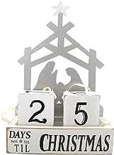 Needzo Metal Nativity Scene Wood Christmas Countdown Calendar Blocks, 6 3/4 Inch