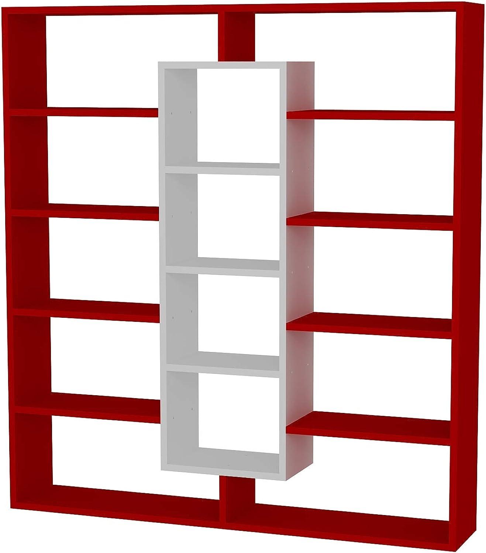 Alphamoebel Ample 1837 Bücherregal Wandregal Aufbewahrungsregal Standregal Regal Holz, Rot Wei, 14 Fcher, 125 x 135,7 x 22 cm