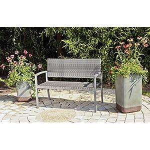 Unbekannt VARILANDO Gartenbank Parkbank Sitzbank 2-Sitzer aus Kunststoffgeflecht und Aluminium in dunkelgrau