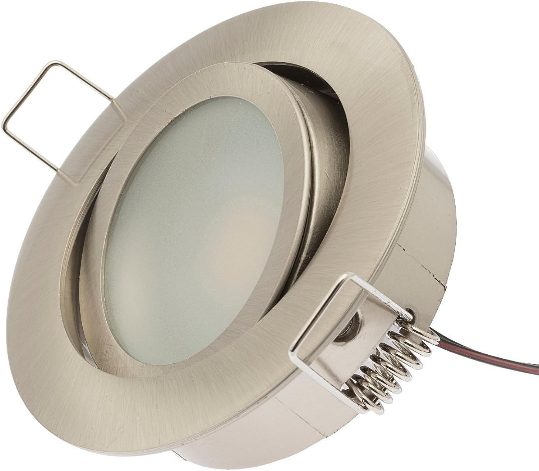 Rolux LED Einbauleuchte Jasper  3er Set matt-chrom schwenkbar Zamak-Druckgu 5,4W 12V 3000K warm-wei inkl. Trafo
