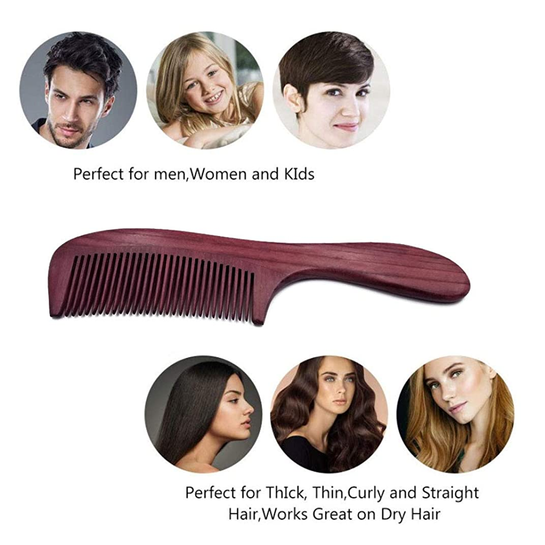 クリックガレージと闘う手作りの白檀の木の毛の櫛、女性の男性の子供のための静的で良い歯の櫛はありません芳香の自然な大きい木の櫛の長いハンドルの標準的な歯の誕生日 の妻