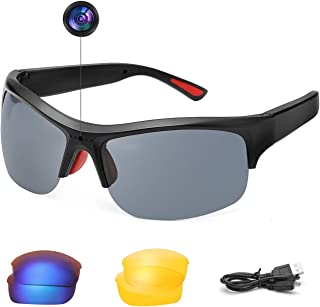 SKYWAY Video Camera Smart Glasses Polarized UV400 Lenses 1080P Hidden Sport Sunglasses (Black)