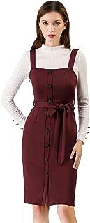 Women's Button Decor Strap Sheath Suspender Overall Jumper Dress