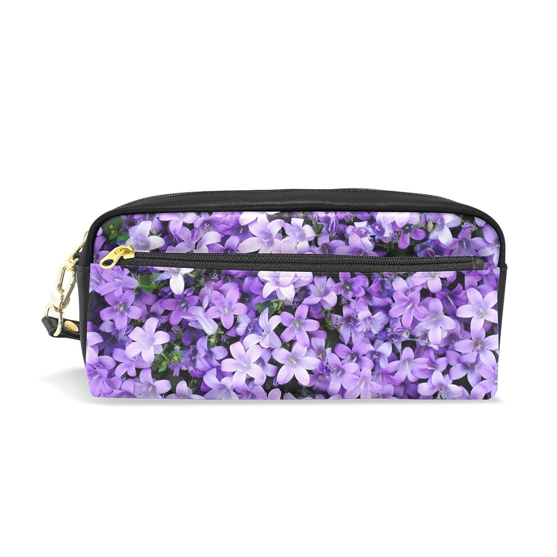 AOMOKI ペンケース ペンポーチ おしゃれ かわいい 化粧ポーチ 小物入り 多機能バッグ 男女兼用 プレゼント ギフト 花柄 紫