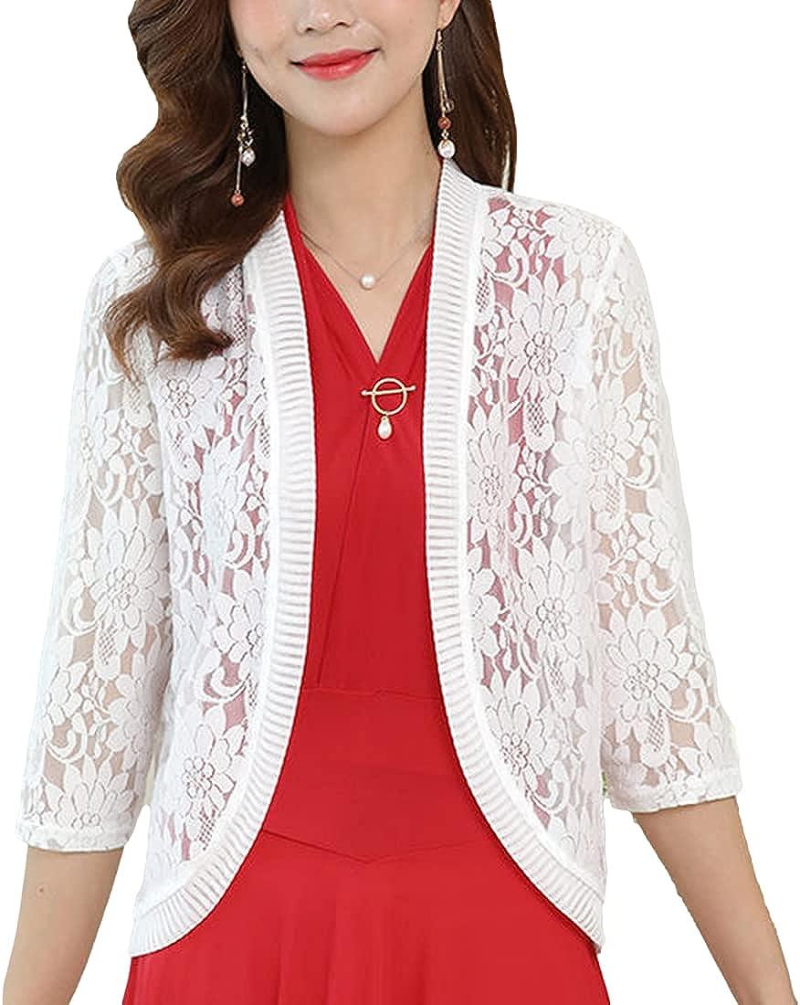 PUWEI Women's 3/4 Sleeve Sheer Bolero Shrug Crochet Lace Cardigan for Dresses