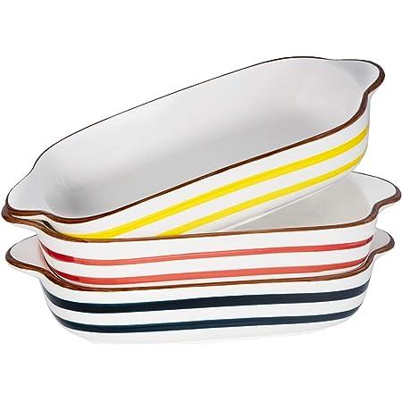 AQUIVER 20oz Ceramic Small Baking Dish - 7'' x 5'' Individual Bakeware Set - Color Painted Porcelain Rectangular Baking Pan for Vegetable, Lasagna, Casserole, Bread, Brownie - Set of 3