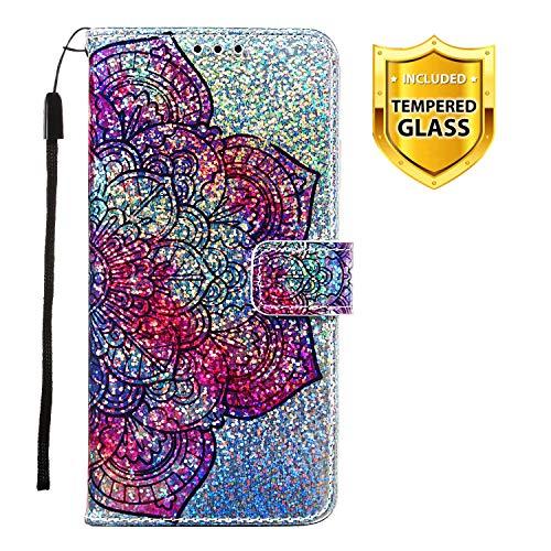 Boloker Kompatibel mit Huawei Honor Play 8A Hülle + Panzerglas Schutzfolie, Glitzer Flip Wallet Case mit Kartenhalter & Magnetverschluss Premium PU Leder Hülle Handyhülle (Blume)