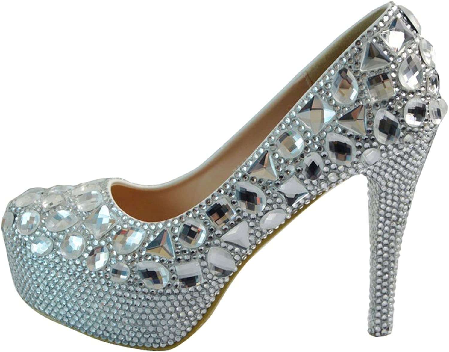 TDA Women's Shiny Bridal Rhinestones Wedding Stiletto Pumps