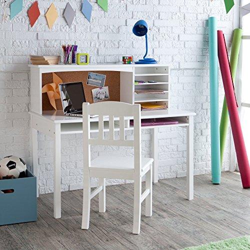 Guidecraft Children's Media Desk and Chair Set – White: Student's Study Computer Workstation, Wooden Kids Bedroom Furniture