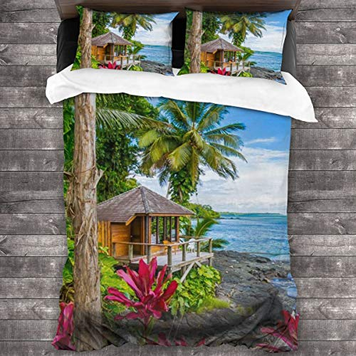 AUISS King Size Comforter Set Tropical Vacation Quilt Cover Bedroom Comforters Zipper Closure Sheet Twin Pillow Shams Breathable Bedspread Coverlet Home Decorative