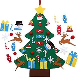 Best Autiy Kids DIY Felt Christmas Tree Set Wall Hanging Detachable Ornaments 26pcs Xmas Gifts Children Friendly Christmas Home Decorations 3.1FT Review