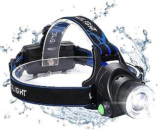 LED Head Torch, USB Rechargeable COB Single Head Headlamp, IP64 Waterproof Zoomable 3 Modes 90° Rotating 800 Lumen Headlig...
