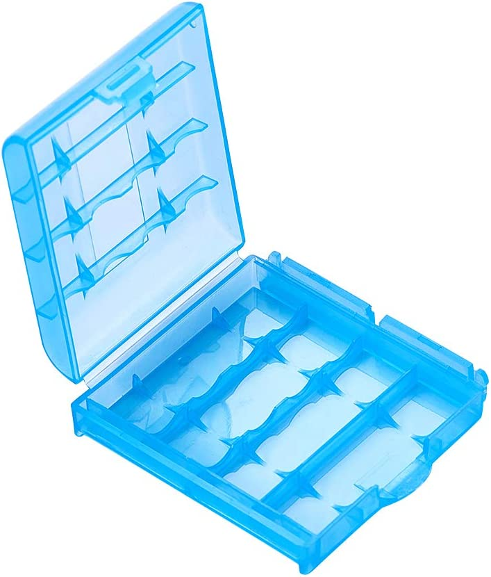 Fielect AA/AAA Battery Storage Case Holder Box, Blue Color, 1Pcs