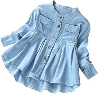 YWLINK Girls' Classic Long Sleeve Denim Loose Hem Ruched Long Sleeve T-Shirt Tops Blouses Beach Holiday Party Clothing