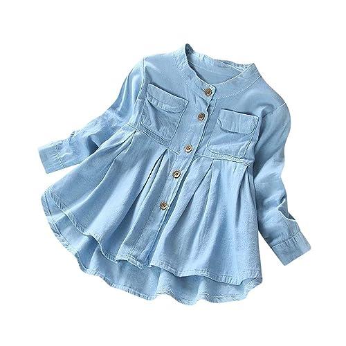 Fineser Little Girls Long Sleeve Denim Ruffle Botton up Shirts Kids Spring Autumn Casual Tops 3