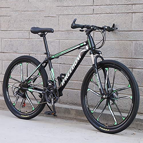 XQY Mountain Bike 26 inch Wheels Mountain high Carbon Steel 24 Speed Bicycle Gear Double disc Brake Mountain Bike,Green
