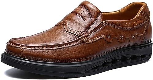 JIALUN-des Chaussures Chaussures Oxford pour Hommes Chaussures majestueuses Slip on on on Style Ox en Cuir Sculpture à La Mode avec Hauteur Hauteur Semelle (Couleur   Light marron, Taille   42 EU) 870