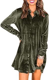 Womens Velvet Button Down T Shirts Swing Mini Dress Casual Long Sleeves Lapel Tunic Tops