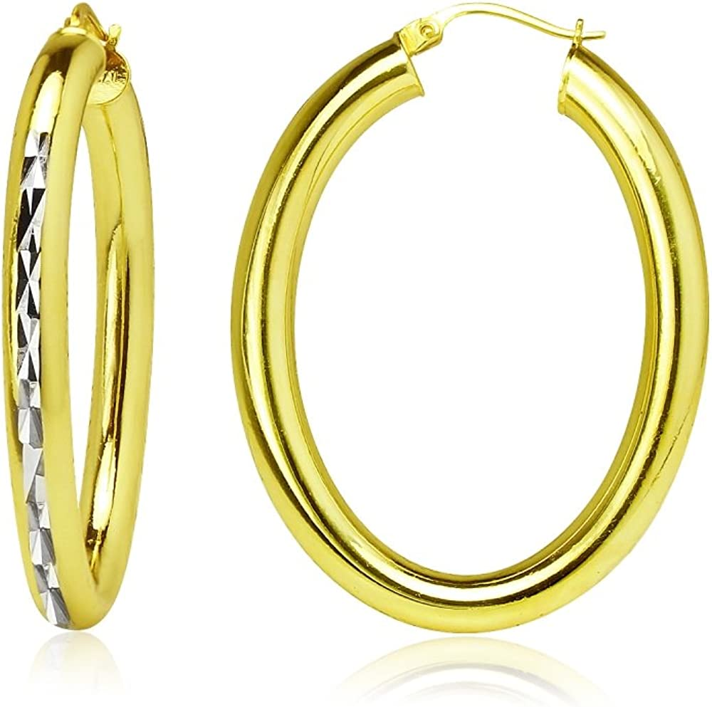 Cheap super special price Sterling Silver 4mm Oval Tampa Mall Diamond-Cut Size Hoop Choose Earrings