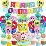 Bob Esponja Decoración para Fiestas - YUESEN Bob Esponja Suministros para Fiesta Cumpleaños Cake Toppers,Globo,Cumpleaños Banner Decoraciones Accesorios (28pcs)