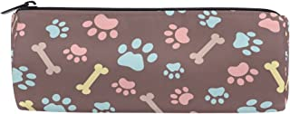 ALAZA Dog Paw Print Cylinder Pencil Case Holder Zipper Large Capacity Pen Bag Pouch Students Stationery Cosmetic Makeup Bag