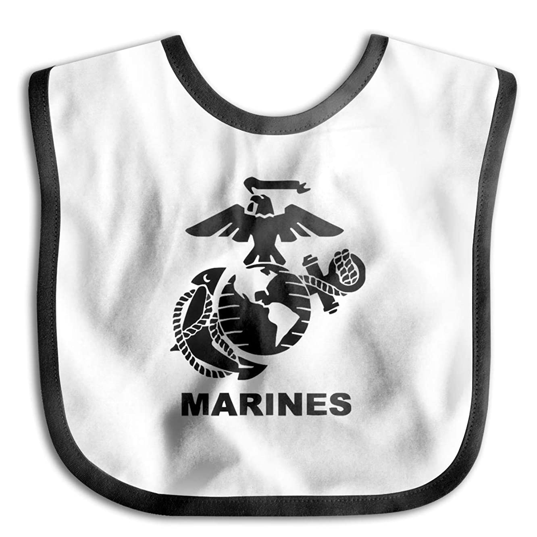 US Marine Corps Logo Drooling Bibs Teething Bib for Baby Boys Girls Organic Cotton White