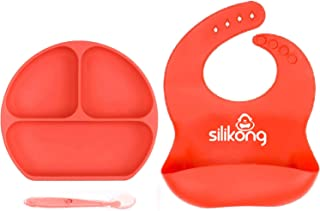 Silicone Baby Feeding Set | Suction Plate for Toddlers + Pocket Bib + Bendable Spoon | BPA Free | Dishwasher, Microwave an...