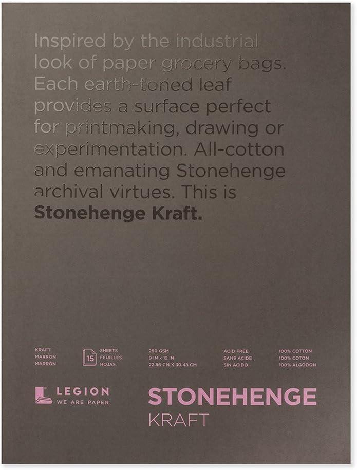 Legion Stonehenge Pad (L21 STP250KR912), 9 X 12 inches, Kraft Paper, 15 Sheets