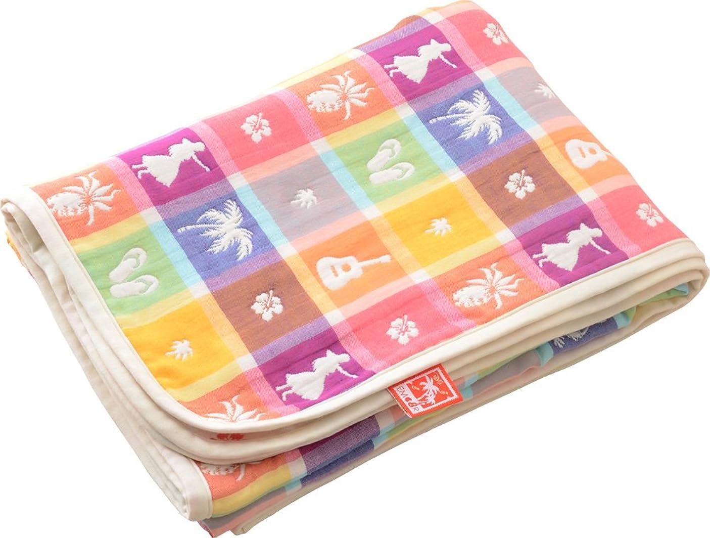 花束行進誰もエムール ハワイアン柄 6重織りガーゼケット シングル 涼感 日本製