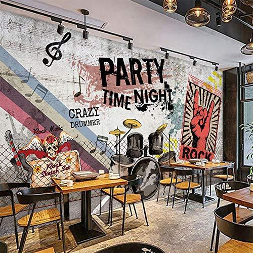 LYSBHX 3D Tapete Selbstklebend (B) 250X (H) 175Cm Rockmusik Stil Schlagzeug 3D Fototapete Wandbild Wandkunst Dekoration Kinderzimmer 3D Wandbild Junge Mädchen Zimmer Wand Poster Schlafzimmer Wohnzimme